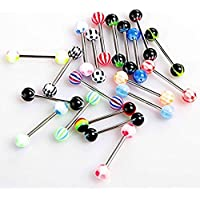 Sungpunet Pack of 20 Colorful Stainless Steel Ball Barbell Tongue Rings Bars Piercing Cosmetic