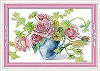 LovetheFamily クロスステッチキット DIY 手作り刺繍キット 正確な図柄印刷クロスステッチ 家庭刺繍装飾品 11CT ( インチ当たり11個の小さな格子)中程度の格子 刺しゅうキット フレームがない - 59×41 Cm 狂野のバラ