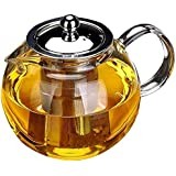 950ml Glass Teapot with Removable Infuser Glass Tea Maker Infusers Holds 1-2 Cups Loose Leaf Iced Blooming or Flowering Tea F