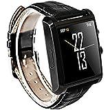 STK Bluetoothスマートウォッチ 歩数計HDカメラスリーブ革 デジタル腕時計/電話帳/着信通知/万歩計(ブラック)
