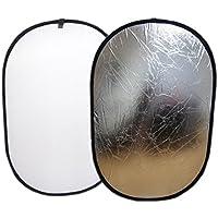 AK レフ板 白 銀 2色 両面タイプ 折りたたみ 楕円形 大判 全身撮影などに (150cm × 100cm, 白 銀)