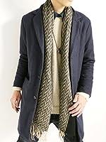 (モノマート) MONO-MART ウールサージ ヘリンボーン チェスター コート 中綿パック ロングコート 暖かい コート メンズ