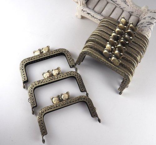 がま口 アンティーク 風 パーツ 角型 くし型 口金 セット 猫 小鳥 うさぎ 選べる 材料 手芸材料 ハンドメイド (角型 猫 8.5cm 10個)