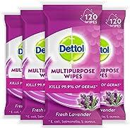 Dettol Multi Purpose Antibacterial Surface Cleaning Wipes Lavender Bundle 480 (4 x 120 pack), Lavendar 480 cou