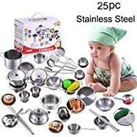 Cookware Playset , sukeq耐久性ごっこ遊び調理用品キッチンおもちゃ調理器具料理ステンレススチールPots PansセットGifts for Kids