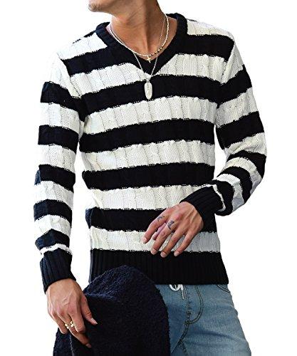 ジョーカーセレクト(JOKER Select) ニット セーター メンズ タートルネック ボーダー ケーブルニット Vネック クルーネック 長袖 L(Vネック) ブラック/ホワイトA(太ボーダー1)