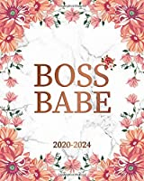 Boss Babe 2020-2024: Pretty Marble & Rose Floral 5 Year Monthly Planner & Schedule Organizer with 60 Months Spread View - Trendy Five Year Calender, Agenda, Notebook & Diary.