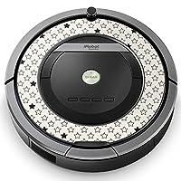 iRobot ルンバ Roomba 専用スキンシール ステッカー 870 871 875 876 880 885 対応 チェック・ボーダー 白黒 星 スター 模様 007512