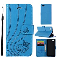 MGVV Huawei P8 Lite Wallet Case, [Butterfly Embossing] Folio Folding Wallet Case Flip Cover Protective Case with Card Slots and Kickstand for Huawei P8 Lite - Blue