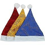 スパンコールSheenクリスマス帽子Sparkle帽子パーティー帽子休日のパーティ3個