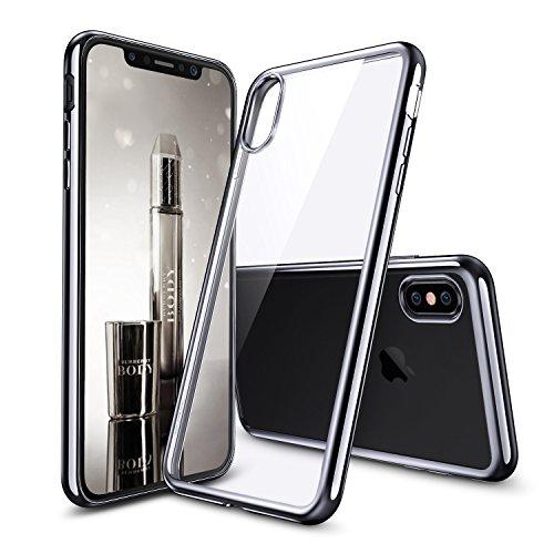 iPhoneX 2017 ケース クリア ESR iPhone10 カバー シリコン [ソフト TPU シンプル キラキラ バンパー 衝撃吸収 傷防止] iPhoneX/iPhone10 5.8インチ 2017年版専用(ブラック)