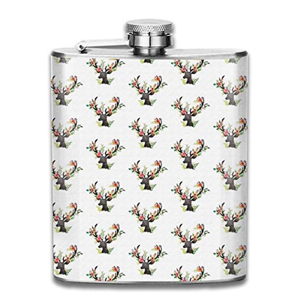 耳懐ポータブル花の鹿フラスコ スキットル ヒップフラスコ 7オンス 206ml 高品質ステンレス製 ウイスキー アルコール 清酒 携帯 ボトル
