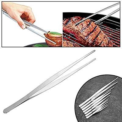 Niome 30cm Stainless Steel Tongs for Barbecue Food Tweezers Clip Applicable for BBQ of Individuals Families Restaurant