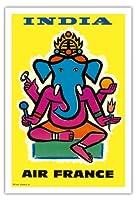 インド - エアフランス - ヒンドゥー教の主ガネーシャ - ビンテージな航空会社のポスター によって作成された ジャン・カルリュ c.1959 - アートポスター - 76cm x 112cm