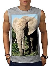 Wellcoda 動物 象 写真 男性用 S-5XL 袖なしTシャツ