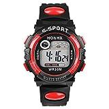 多機能ManデジタルLEDクォーツ腕時計ninasillスポーツ時計LEDアラーム防水時計(レッド)