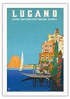 ルガーノ - 南スイス - ルガーノ湖 - ビンテージな世界旅行のポスター によって作成された レオポルド・メトリコヴィッツ c.1958 - 美しいポスターアート