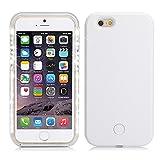 スマホケース iPhone6S Plus/6 Plus対応 LEDライト付き おしゃれ 自撮りLEDリングライト 光る セルフィーライト 夜間写真撮影光補充ライト (ホワイト)