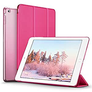 iPad Mini ケース クリア ESR iPad Mini2 ケース レザー PU iPad Mini3 ケース 軽量 スタンド機能 傷つけ防止 オートスリープ ハード三つ折 iPad Mini3/2/1(初代第二三世代)専用スマートカバー(バラレッド)