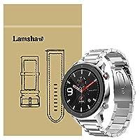 Lamshaw Amazfit GTR バンド, ステンレス メタル ベルト 交換バンド 対応 Amazfit GTR 47mm / Amazfit GTR 42mm (47mm ケース, シルバ)