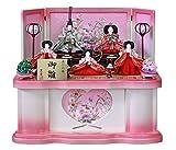 雛人形 収納飾り ひな人形 衣裳着五人飾り  ホワイトピンク収納台 刺繍花無双 W53×D44×H57cm S5-950WT