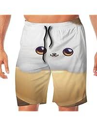 メンズ水着 ビーチショーツ ショートパンツ キュートキャット猫 スイムショーツ サーフトランクス 速乾 水陸両用 調節可能