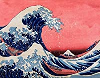 ArtVerse HOK040A2228A The Great Wave in Red and Blue Removable Art Decal 22 x 28 [並行輸入品]