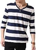(アーケード) ARCADE メンズ 先染めボーダー Tシャツ 春 夏 Vネック 半袖 7分袖 カットソー S (七分袖)4-白×紺-ミドルピッチボーダー