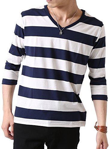 (アーケード) ARCADE メンズ 先染めボーダー Tシャツ 春 夏 Vネック 半袖 7分袖 カットソー M (七分袖)4-白×紺-ミドルピッチボーダー