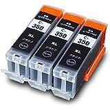BCI-350XLPGBK 【 顔料 黒3個セット 】 Canon キヤノン 互換 インクカートリッジ BCI-350XLPGBK2P + BCI-350XL PGBK 残量表示対応 インク PIXUS MG7530 / PIXUS MG7530F / PIXUS MG7130 / PIXUS MG6730 / PIXUS MG6330 / PIXUS iP8730 / ( BCI-350BK BCI350 )