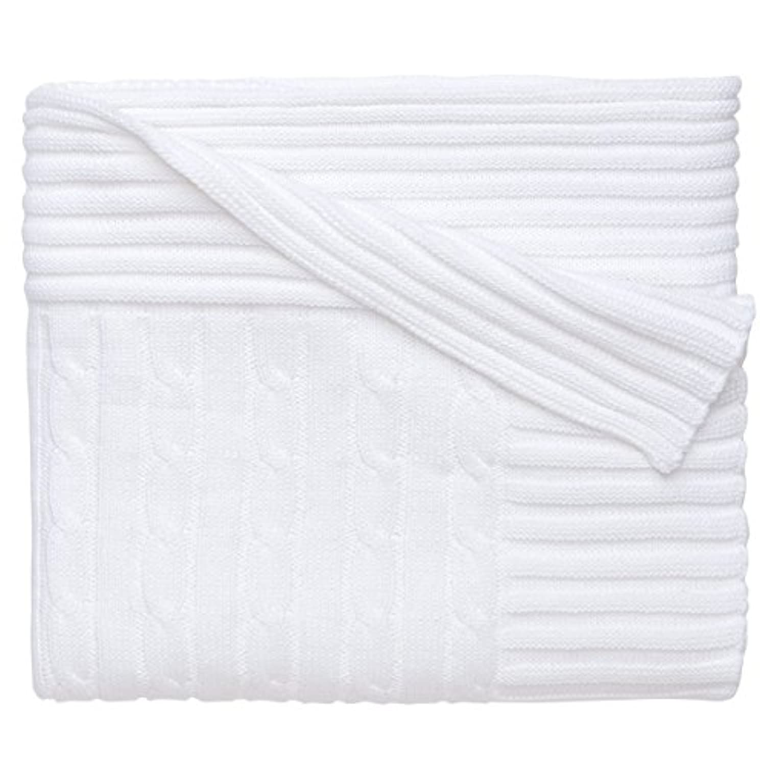Elegant Baby 100% Cotton, Wide Cable Knit Blanket with Wide Ribbed Border 36 x 45 Inch in White by Elegant Baby [並行輸入品]