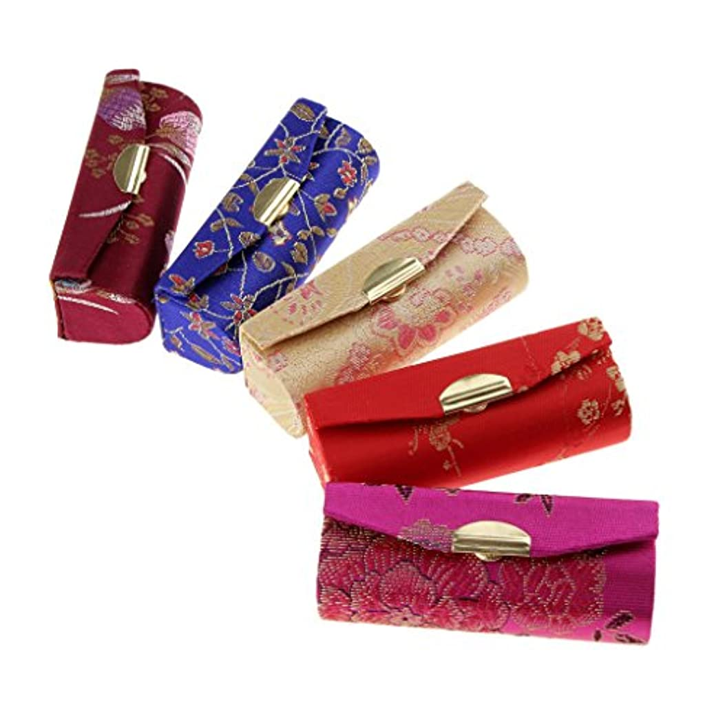 Blesiya 5個 化粧ポーチ 口紅 収納ケース リップグロス リップスティック ミラー付き 小物入り メイクアップ 便利 レディース プレゼント ランダム色