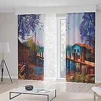 C COABALLA 遮光カーテン TT02 湖の家の装飾 リビングルーム ベッドルーム 装飾 Thunderstorm 道路上 鮮やか 強力 2パネルセット 157W x 94L Inches CL_BE_90314_Z_14_006_K400xG241_075218