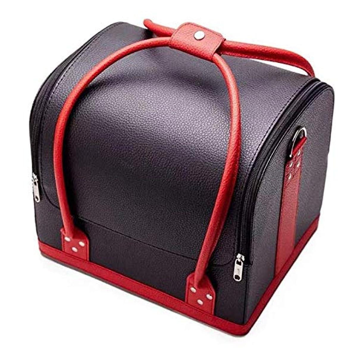 ヤギコミットルーチン持ち運びできる メイクボックス 大容量 取っ手付き コスメボックス 化粧品収納ボックス 収納ケース 小物入れ (ブラック?レッド)