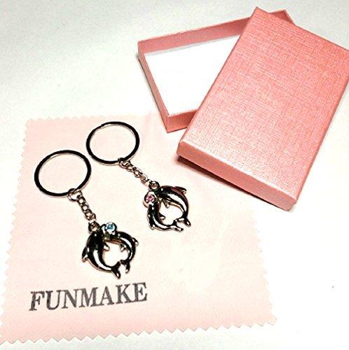 (ファンメイク) FUN MAKE イルカ ペア キーホルダー ブルー&ピンク ラインストーン カップル ペア セット ...