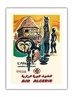 アフリカ - 歴史の十字路 - 空気アルジェリア - ビンテージな航空会社のポスター c.1950s -プレミアム290gsmジークレーアートプリント - 46cm x 61cm