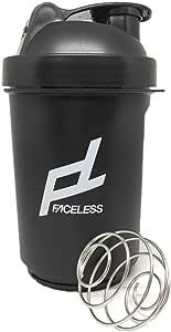FACELESS シェイカーボトル サプリケース 持ち運び可能 フィットネス (黒, 500ML)