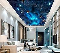 Weaeo カスタム3D天井の壁紙の壁紙天の川銀河の星空のペインティング3D壁の壁画の壁紙-400X280cm