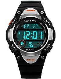 SKMEI 腕時計 LED多機能スポーツウォッチ M905A キッズ (ブラック)