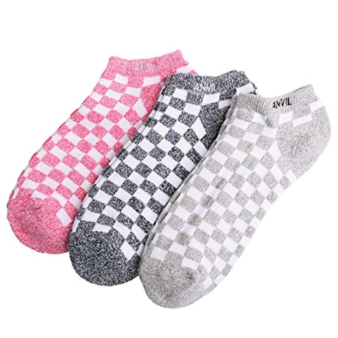 アルファベット要求する論争的(アンヴィル) anvil アンビル スニーカーソックス 靴下 メンズ 3足セット くるぶし 踝 ショート 杢 チェック ボーダー 2237 5445 9634 9962