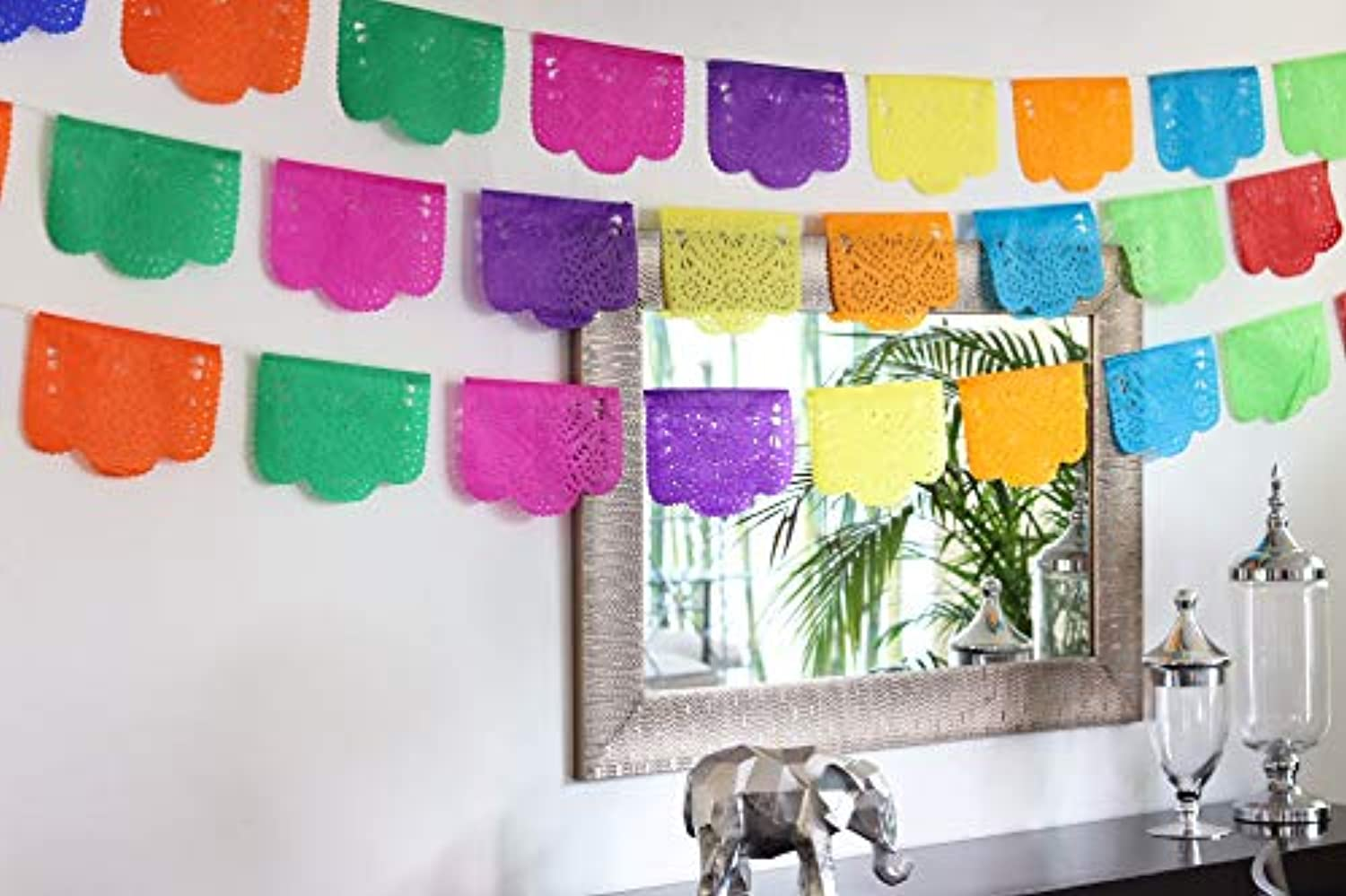 Fiesta Brands 30 Panel Pack. Mexican Papel Picado Banner.Colores de Primavera.Over 8.8m Long for Maximum Coverage. Vibrant Colours Tissue Paper. Small Size Panels. Multicoloured Flowers Design