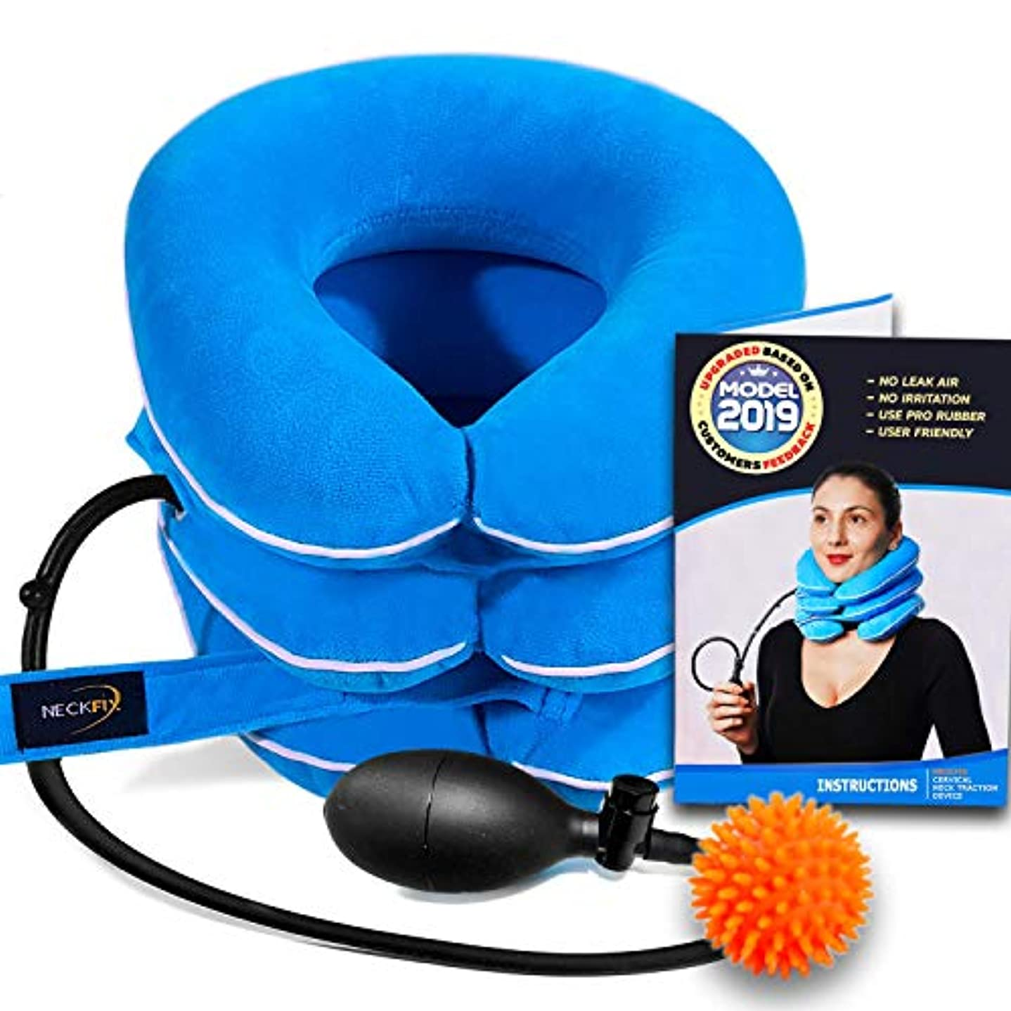 恐ろしいライブライバルCervical Neck Traction Device by NeckFix for Instant Neck Pain Relief [FDA Approved] - Adjustable Neck Stretcher...
