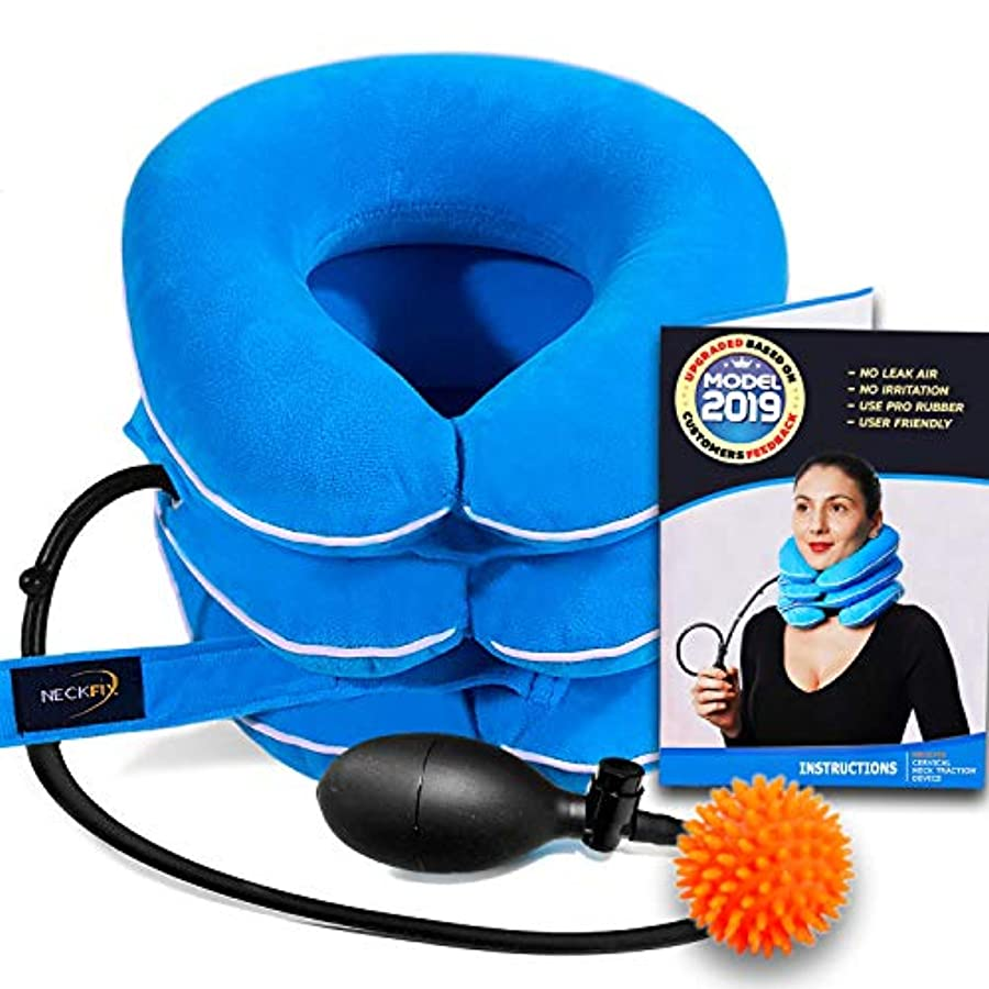 Cervical Neck Traction Device by NeckFix for Instant Neck Pain Relief [FDA Approved] - Adjustable Neck Stretcher...