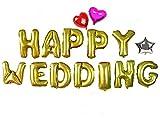 幸せいっぱい! サプライズグッズ【 HAPPY WEDDING アルファベット バルーン 】+【 星型 ハート型 バルーン 】オリジナルポンプ付き ..