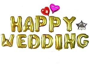 幸せいっぱい! サプライズグッズ【 HAPPY WEDDING アルファベット バルーン 】+【 星型 ハート型 バルーン 】オリジナルポンプ付き アルミ 風船 装飾 飾り 結婚式 パーティ 二次会 お祝い 文字 風船 ハッピーウエディング