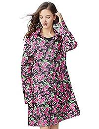 AN ファッションビッグフラワーレッドローズタイドレインコートの長い段落の女性モデルレディース防水服プレイウォータージャケットトラベルソフトシン (サイズ : M)