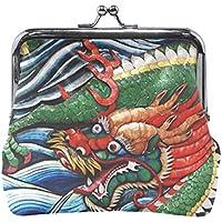 がま口 小銭入れ 財布 中国の龍 コインケース レザー製 丸形 軽量 人気 おしゃれ プレゼント ギフト 雑貨
