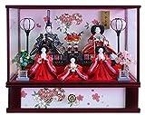 雛人形 ケース飾り ひな人形 ワイン塗五人ケース飾り 金彩鞠桜柄バック W62.5×D29.5×H50㎝ 25-1915