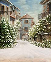 冬の街の景色 写真撮影用背景 緑の松の木 レトロな家 雪の植物 ヴィンテージビルディング 壁 写真スタジオ背景 8x10フィート