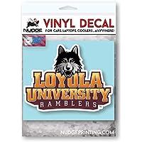 Nudge Printing Loyola University Chicago LUC Ramblers with LU Wolf ビニール カーウィンドウ デカール ラップトップ バンパーステッカー - フルカラー